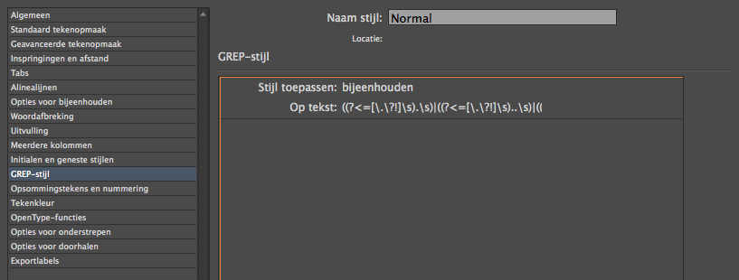 Gebruik GREP in InDesign