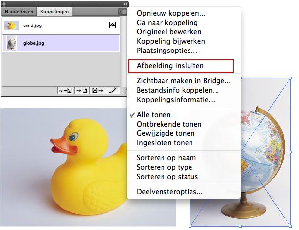Afbeeldingen kun je ook achteraf nog insluiten in Adobe Illustrator.