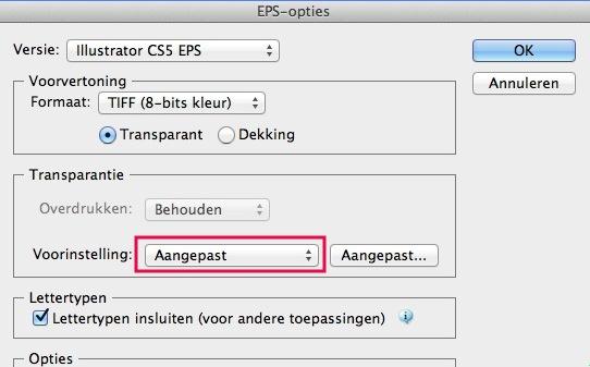 Kies voor het bestandsformaat EPS om te bewaren in Illustrator