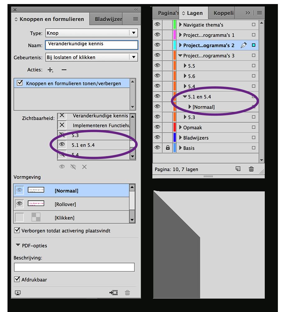 Knoppen in een interactieve PDF