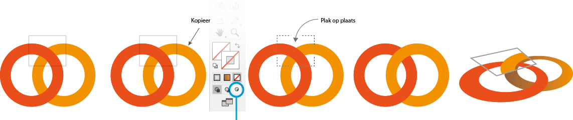 ringen die in elkaar haken in Illustrator